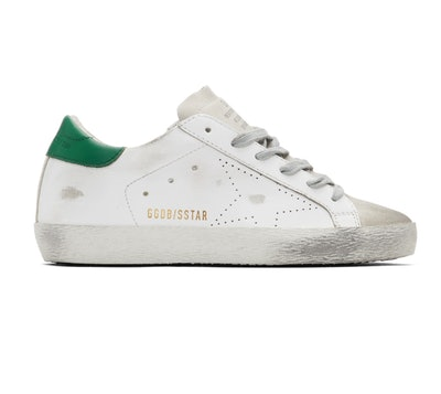 White & Green Superstar Sneakers