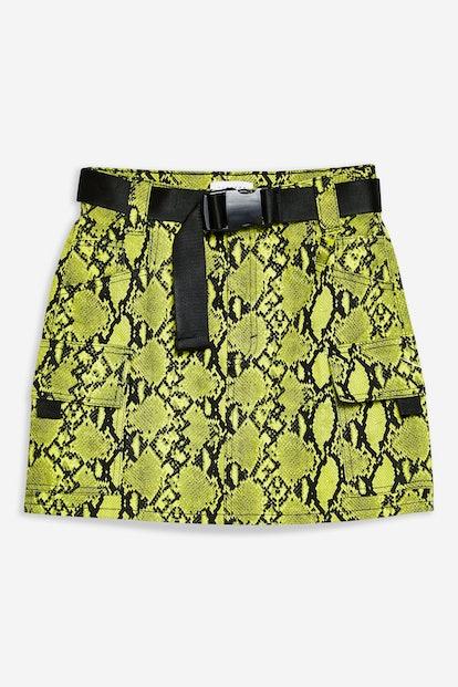 Snake Clip Buckle Denim Skirt