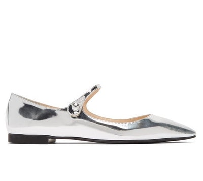 Metallic Leather Mary Jane Flats