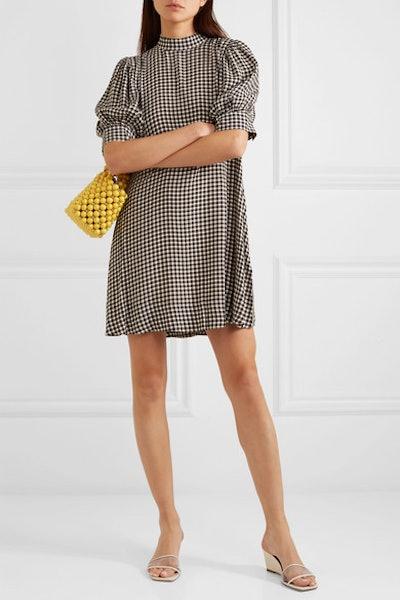 Gingham Crepe Mini Dress