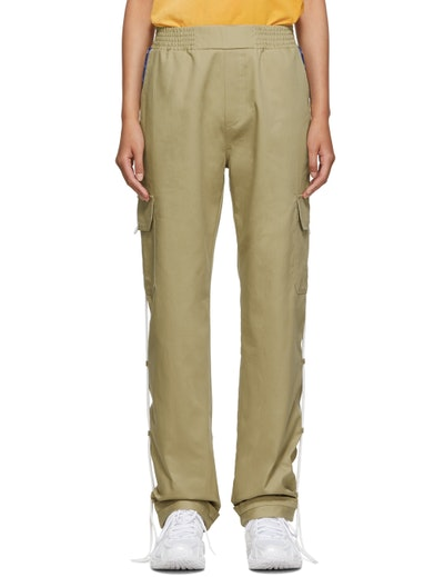 Beige Side-Tape Cargo Pants