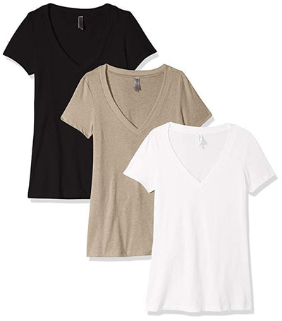 Clementine Apparel Women's Petite Plus Deep V Neck Tee (3-Pack)