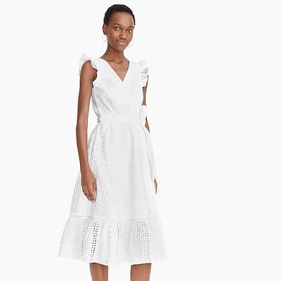 Midi Wrap Dress In Allover Eyelet