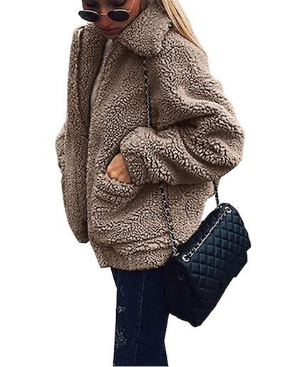 RETTYGARDEN Women's Faux Shearling Shaggy Oversized Coat