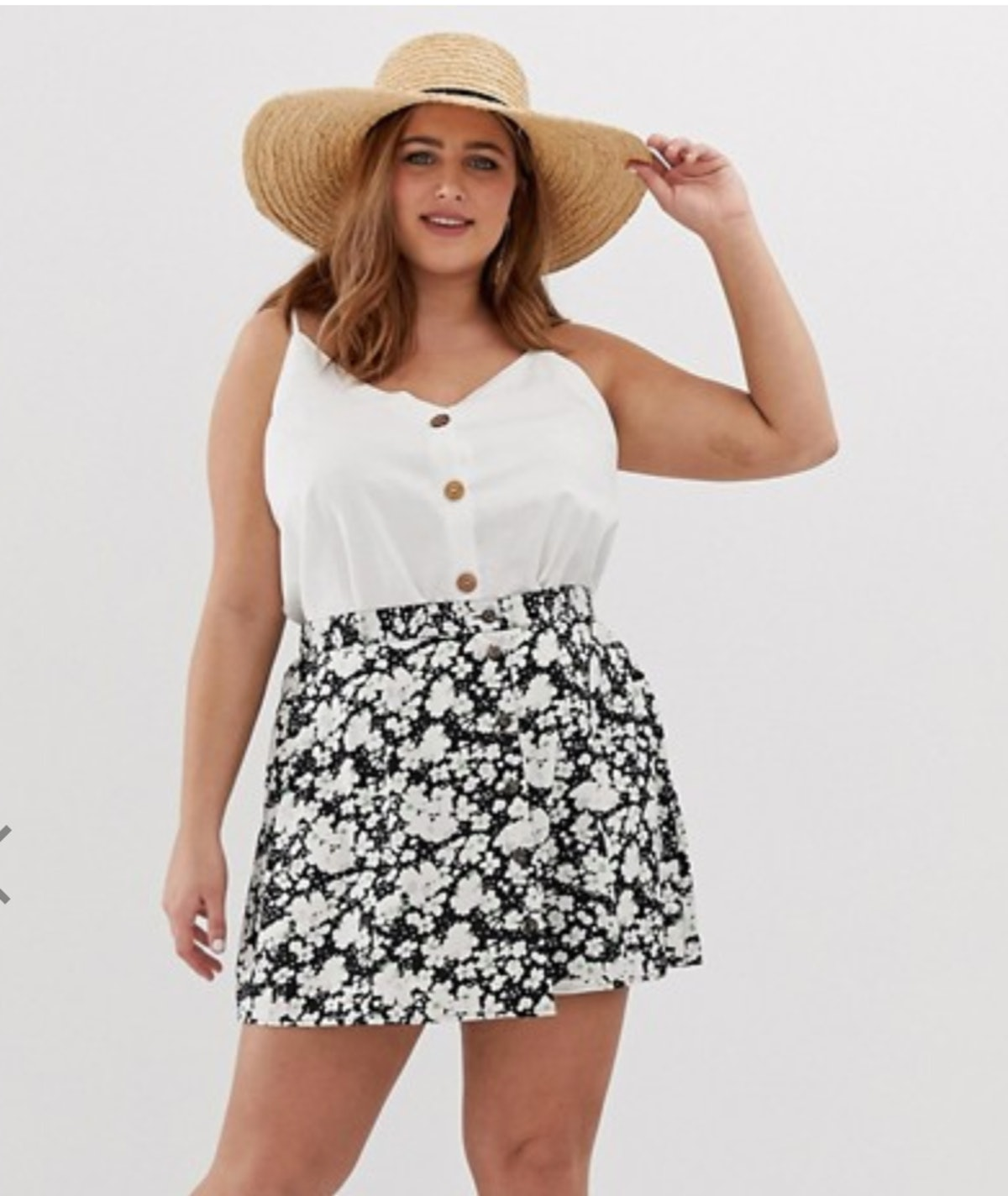 ASOS DESIGN Curve Button Front Mini Skirt in Smudged Daisy Print