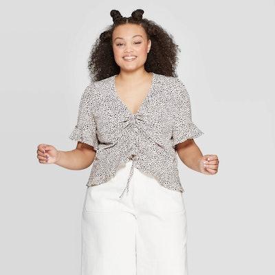 Women's Plus Size Leopard Print Short Sleeve V-Neck Tunnel Front Shirt