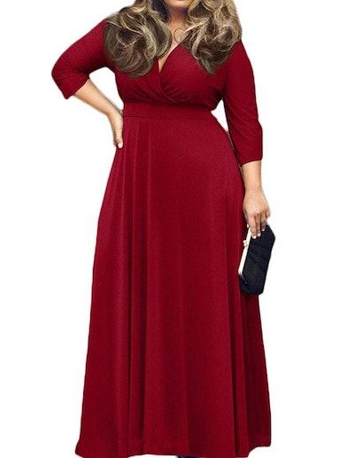 POSESHE Women's Solid V-Neck 3/4 Sleeve Plus Size Maxi Dress