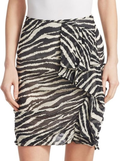 Gerene Zebra Print Ruched Mini Skirt