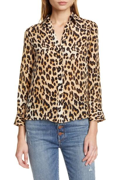Eloise Leopard Print Silk Blouse