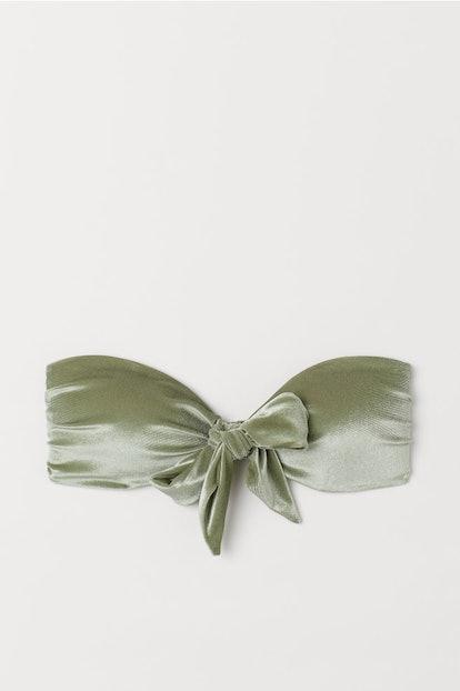 Velour Bandeau Bikini Top