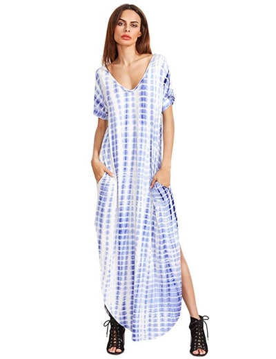 MAKEMECHIC Casual Short Sleeve Tie Dye Maxi Dress