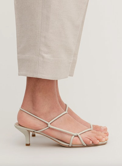 Strappy Leather Kitten-Heel Sandals