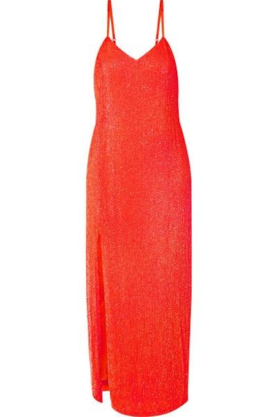 Rebecca Neon Sequined Chiffon Midi Dress