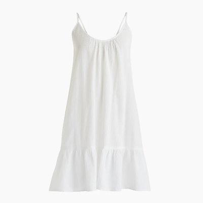 Flounce-Hem Mini Beach Dress In Crinkle Cotton