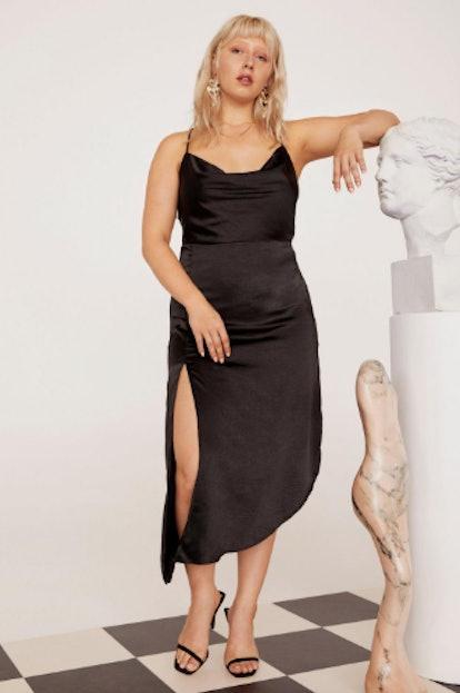 EMRATA Cowl to Be a Heartbreaker Satin Midi Plus Dress