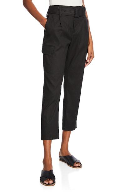 Belted Linen Straight-Leg Pants