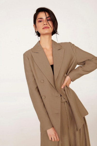 EMRATA Business As Usual Oversized Double Breasted Blazer