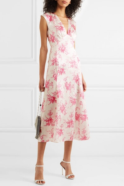 Floral Print Silk-Charmeuse Midi Dress