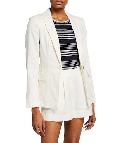 Classic Single Button Linen Blazer
