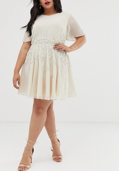 Pretty Embellished Smock Mini Dress