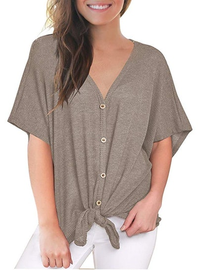 MIHOLL Loose Blouse Short Sleeve V Neck Button Down