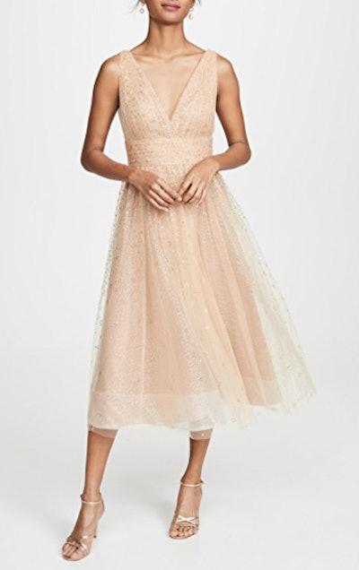 V Neck Tulle Glitter Gown