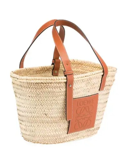 Small Raffia Basket Tote Bag