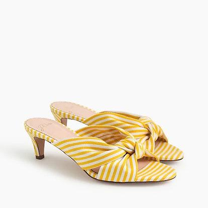 Knotted Kitten Heel Sandals In Stripe
