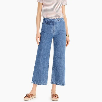 Point Sur Wide-Leg Crop Eco Jean With Front Tab Pocket In Riverbed Blue Wash