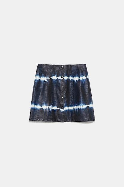Faux Leather Tie-Tye Mini Skirt