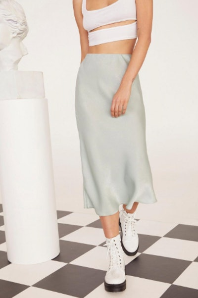 EMRATA Get Your Sleek On Satin Bias Cut Skirt