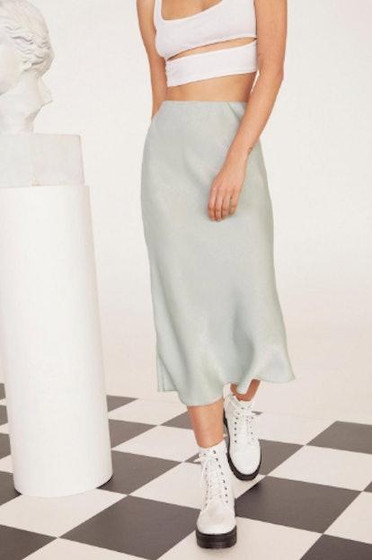 EMRATA Get Your Sleek On Satin Bias Cut Skirt