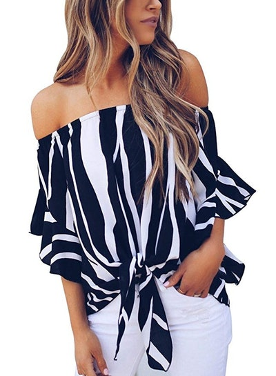 Asvivid Women's Striped Off Shoulder Bell Sleeve Shirt