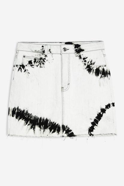 Tie Dye Denim Mini Skirt