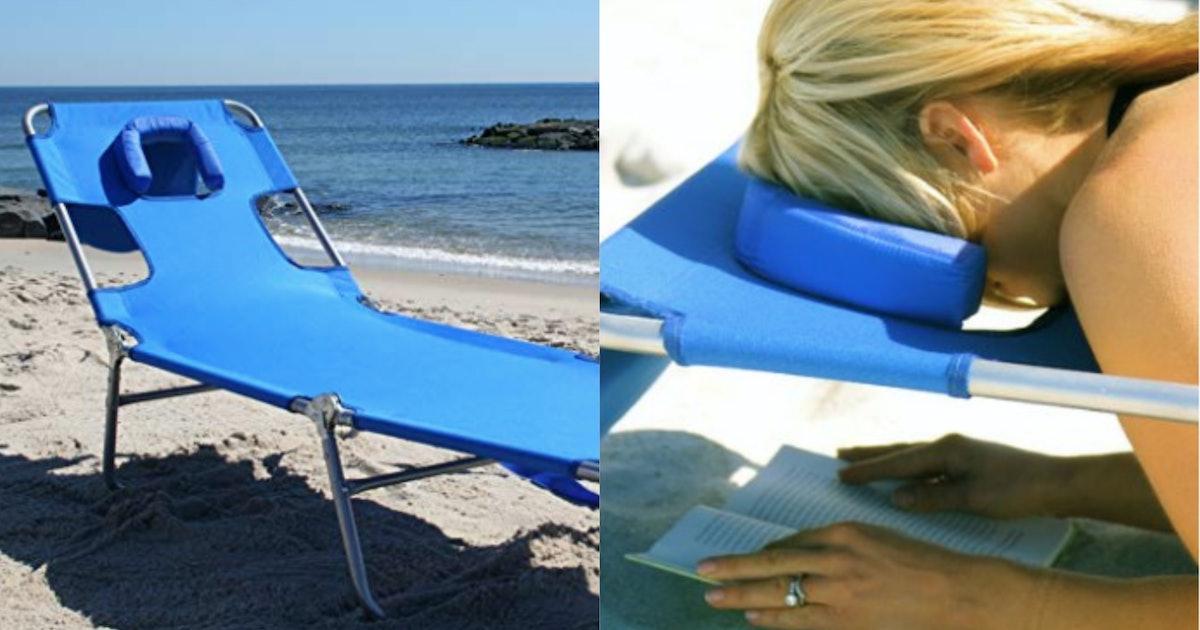 Beach chair with face hole