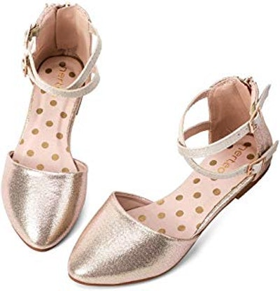 Girls' Pretty Glitter Ankle Strap Ballet Flats