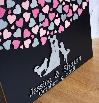 Huskies Couple Wedding Guest Book
