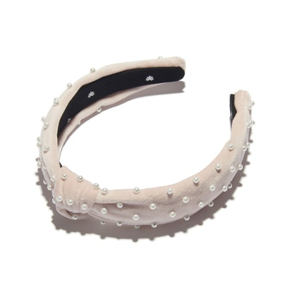 Petite Blush Pearl Velvet Headband