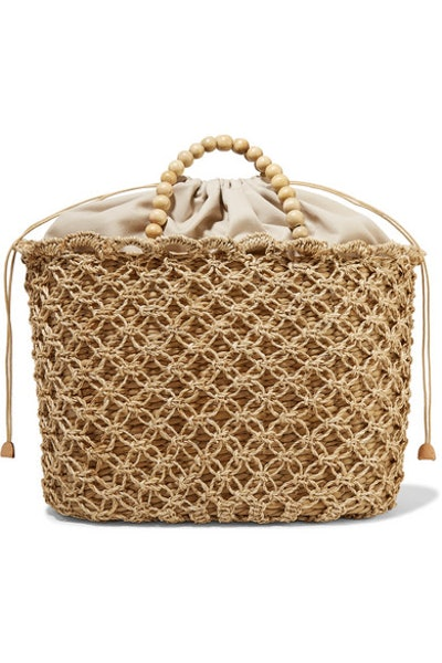 Kayu + NET SUSTAIN Pippa Woven Seagrass, Macramé And Beaded Tote