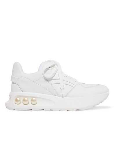 NKP3 Faux Pearl-Embellished Leather Sneakers