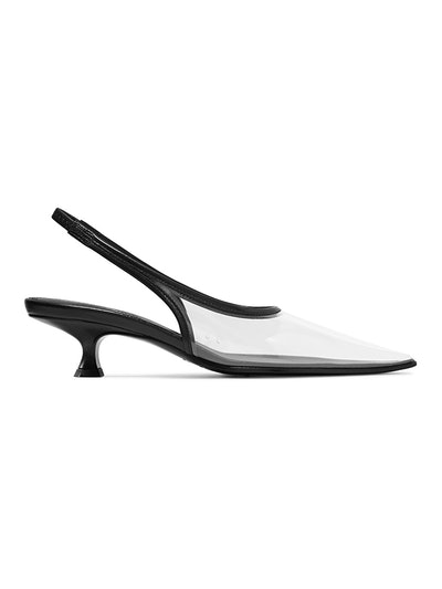 PVC And Leather Slingback Pumps