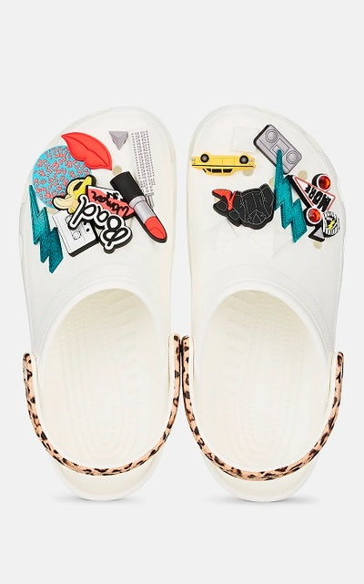 White Embellished Rubber Clogs