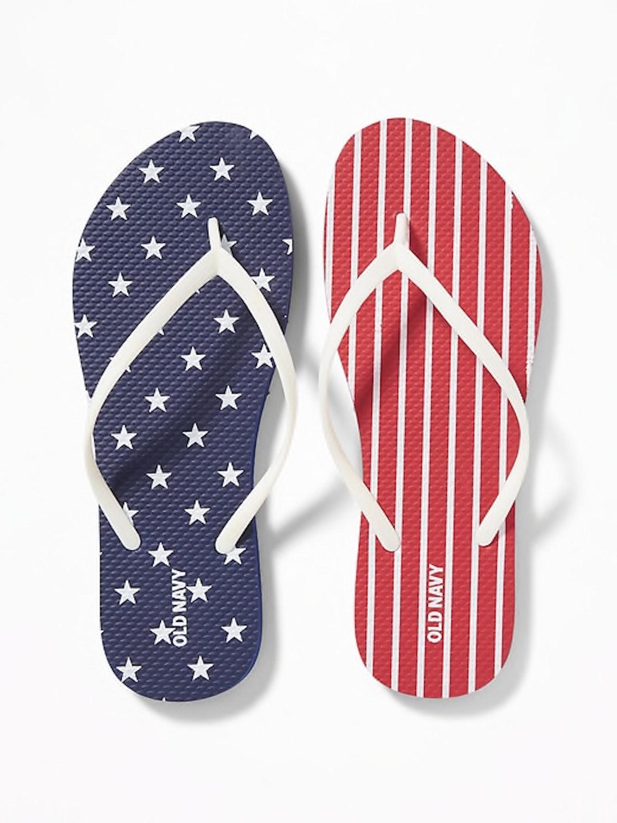 All American Patterned Flip-Flops