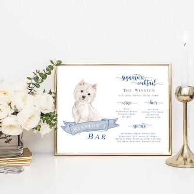 Dog Bar Menu Wedding Sign
