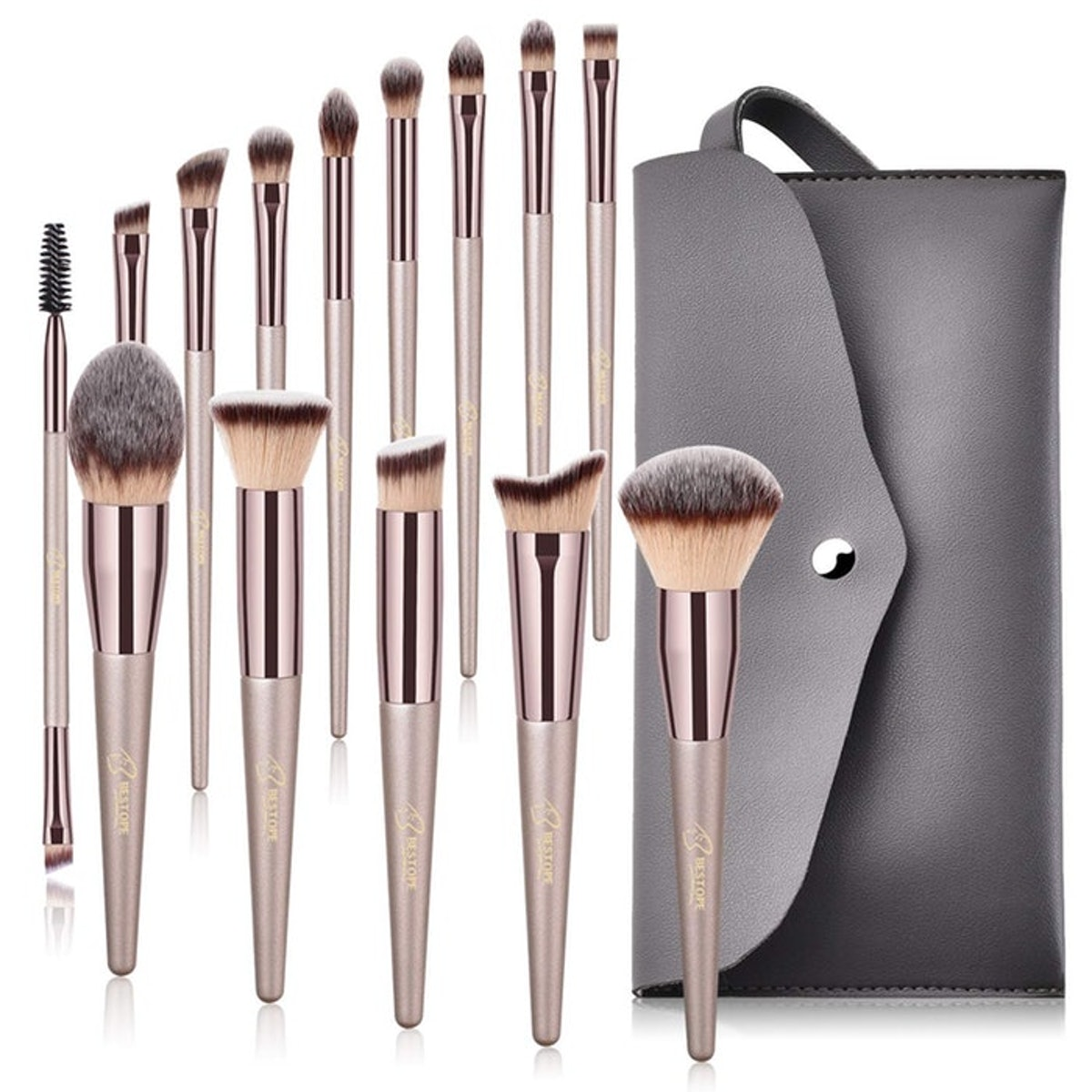 BESTOPE Makeup Brush Set (14 Pieces + Case)