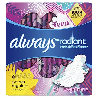 Always Radiant Teen Pads, Unscented (14 count)