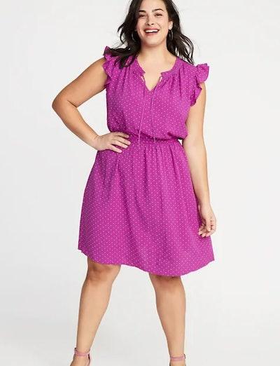 Ruffled Waist-Defined Plus-Size Dress