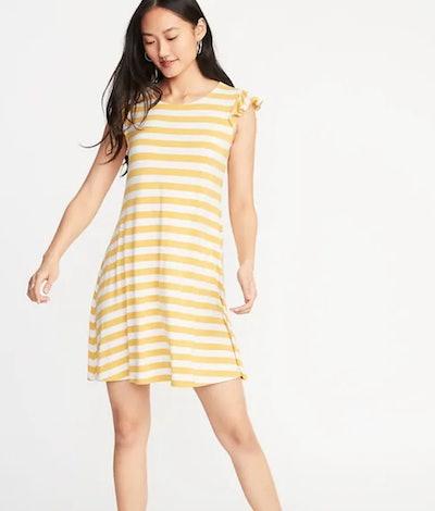 Flutter-Sleeve Jersey Swing Dress