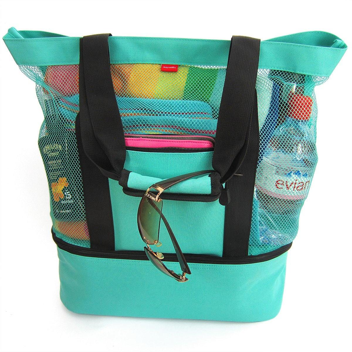 OdyseaCo Aruba Mesh Beach Tote Bag with Zipper Top and Insulated Picnic Cooler