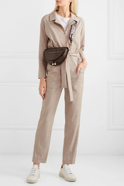 Belted Checked Cady Jumpsuit